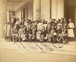 [Group portrait with the Gaekwar of Baroda, the Governor of Bombay, Sir Richard Temple and various Indian and European officials.]